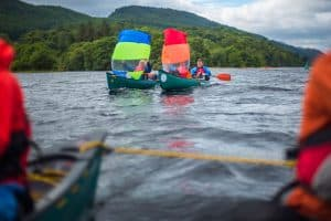 Canoe sailing on the great glen canoe trail