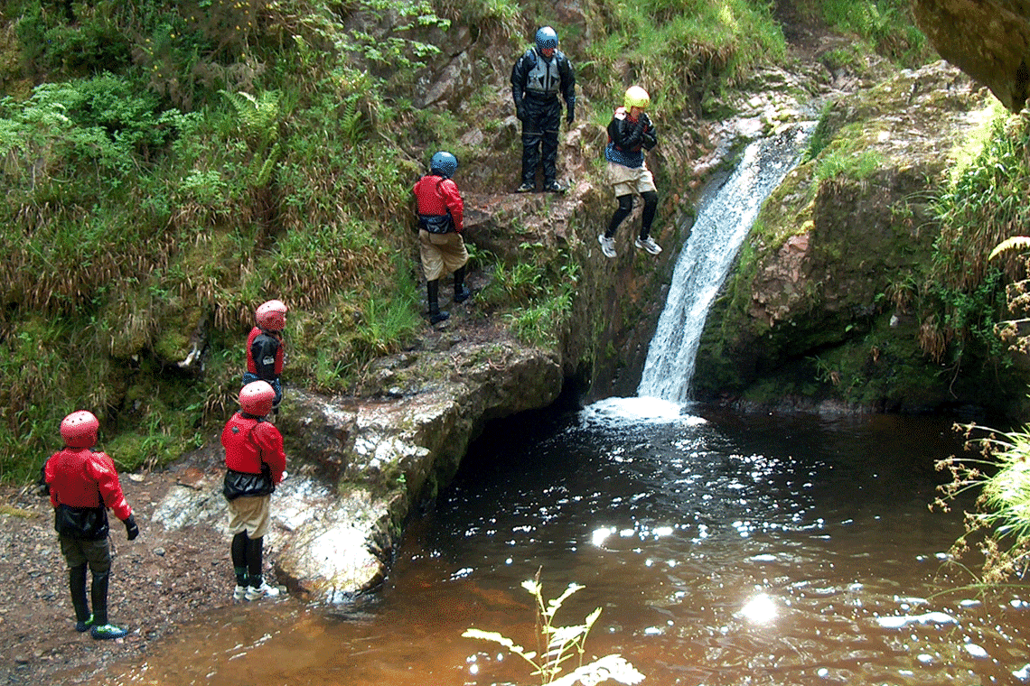 Waterfall slides at Culloden Gorge