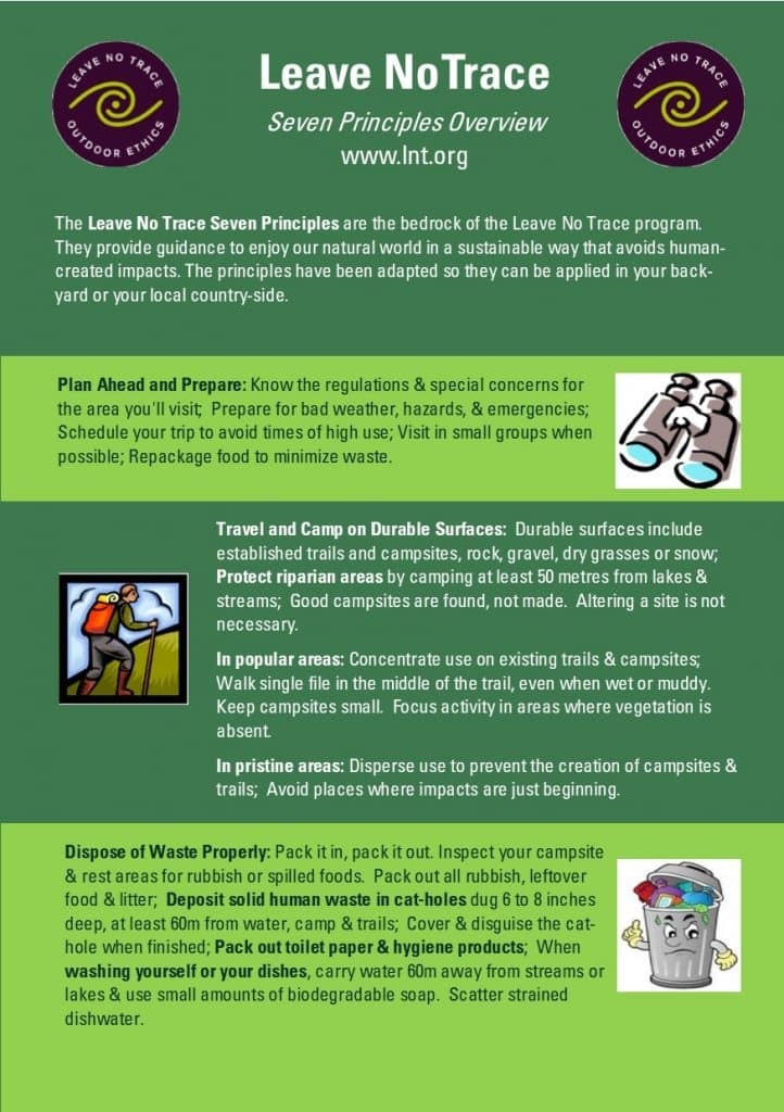 Leave No Trace principles overview - click to download pdf