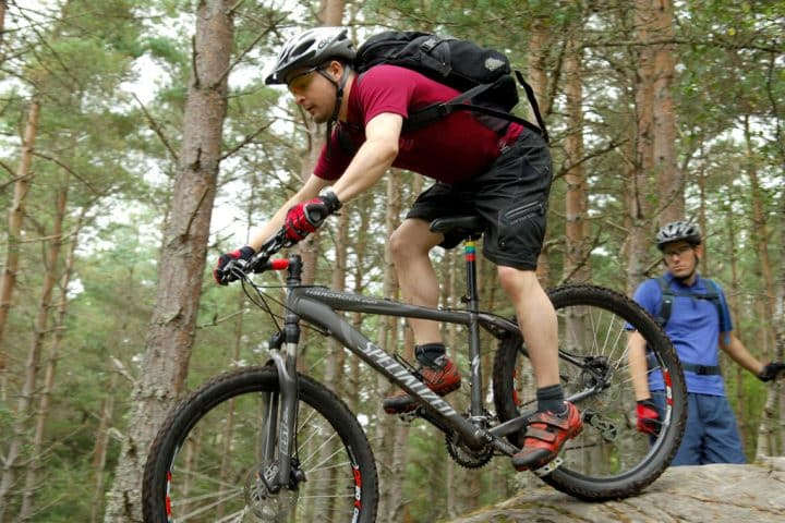 Mountain biking in a forest