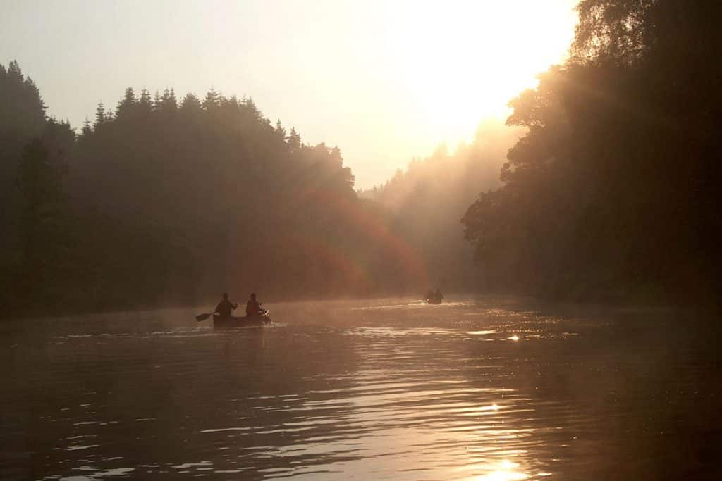 canoeing river beauly at sunrise