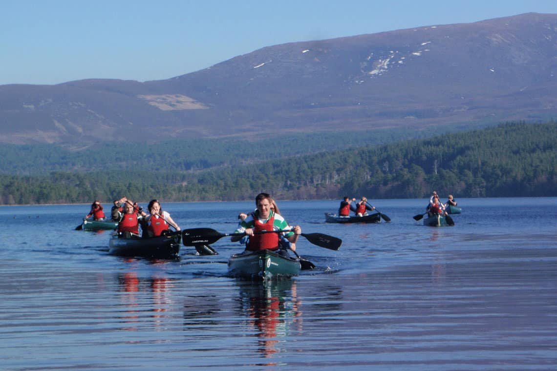 canoeing on a loch