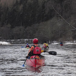 canoeing on the river tweed